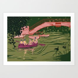 Boys on a boat Art Print