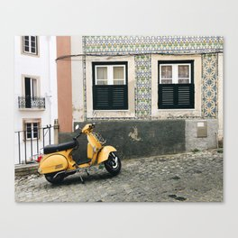 Little Yellow Scooter / Lisbon Canvas Print
