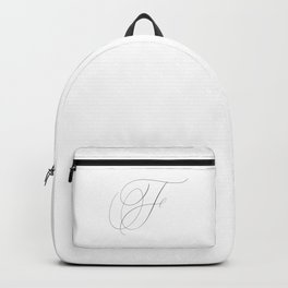 Letter F in Calligraphy. Calligraphed letter F. Handlettered F - Handlettering. Majuscule, Capital letter. Cursive writing. Black and White wall art. Art Print. Backpack
