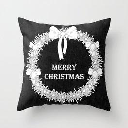 Bold Christmas Wreath Throw Pillow