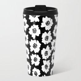 Linocut botanical nature floral flower art nursery black and white decor newborn Travel Mug