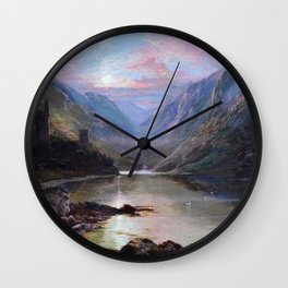 Irish Landscape of Donegal Sunset Mountains and Loch landscape by Lough Beagh  Wall Clock