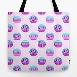 """Vaporwave pattern with palms and words """"yikes"""" #2 Tote Bag"""