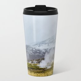 Steam Rising from the Strokkur Geysir Field in Iceland with Mountains in the Background Travel Mug