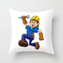 Running man with a wrench Throw Pillow