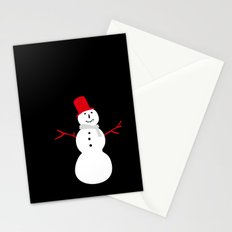Christmas Snowman-Black Stationery Cards