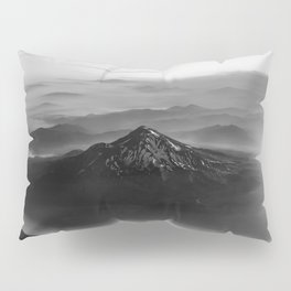 The West is Burning - Mt Shasta Black and White Pillow Sham