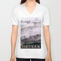 asia V-neck T-shirts featuring FOGGY MOUNTAIN - VIETNAM - ASIA by CAPTAINSILVA