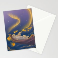 Golden fish and sailing polar bear  Stationery Cards