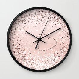 Sparkling ROSE GOLD Lady Glitter Heart #5 #decor #art #society6 Wall Clock