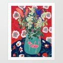 Wild Flowers in Flamingo Vase Floral Painting by larameintjes