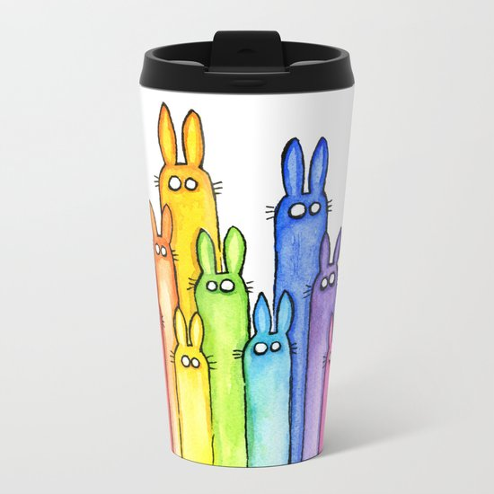 Bunny Rainbow Bunnies Rabbit Watercolor Pattern Whimsical Colorful Animals Metal Travel Mug