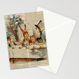 alice in wonderland tea party cup,  Stationery Cards