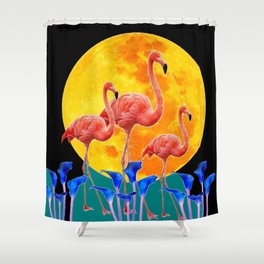 BLACK PINK FLAMINGOS FULL MOON BLUE LILIES Shower Curtain
