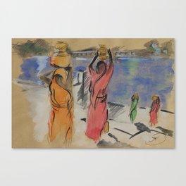Women carrying water from Pushkar Lake Canvas Print