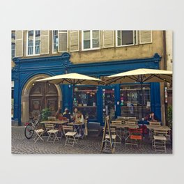 Sunday morning at the Cafe in Strasbourg Canvas Print