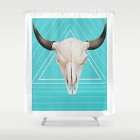 bull Shower Curtains featuring Bull by Julie Shea Art