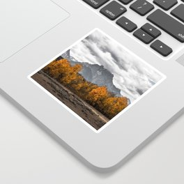 Teton Fall - Autumn Colors and Grand Tetons in Black and White Sticker