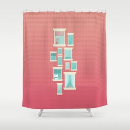 Bricks & Windows Shower Curtain