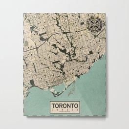 Toronto City Map of Canada - Vintage Metal Print