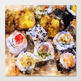 Sushi board - watercolor Canvas Print