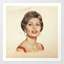 Sophia Loren - Watercolor Art Print