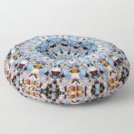 Blue Brown Folklore Texture Mandala Floor Pillow