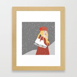 Winter Snow Ice Skater (flat graphics) Framed Art Print