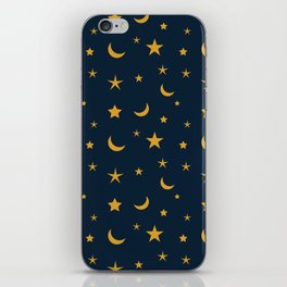 Yellow moon and star pattern on Navy blue background iPhone Skin