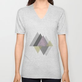 To the Mountains I Must Go, Abstract Geometric Art Unisex V-Neck