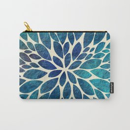 Petal Burst - Turquoise Carry-All Pouch