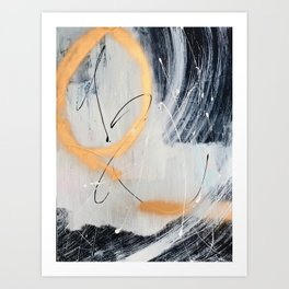 Midnight Time Lapse: a minimal, abstract mixed-media piece by Alyssa Hamilton Art in Gold, Black Art Print