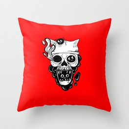Skull and spiders Throw Pillow