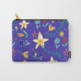 Floral The Tortoise and the Hare is one of Aesop Fables blue Carry-All Pouch