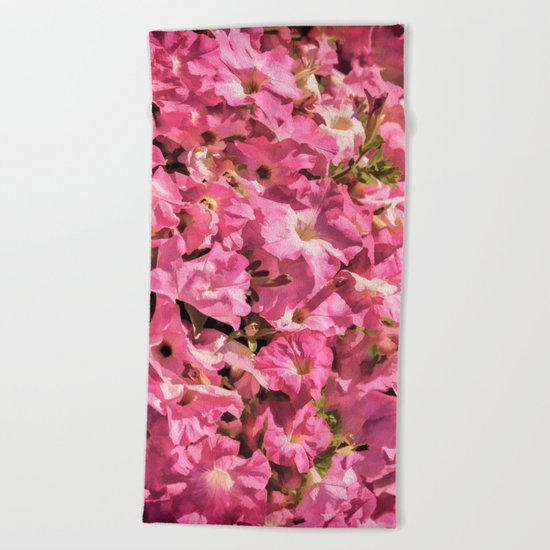 Vintage Pretty Pink Petunias Beach Towel