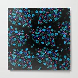 Blue Blossoms on Black Metal Print
