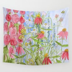 Watercolor Garden Flowers Summer Botanical Illustration  Wall Tapestry
