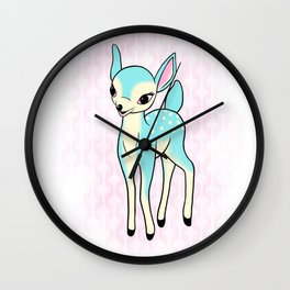 Kitsch turquoise deer Wall Clock