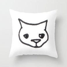 Concerned Cat Throw Pillow