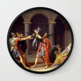 Oath of the Horatii by Jacques-Louis David Wall Clock