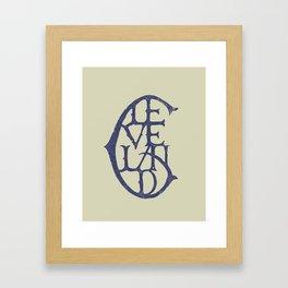 Vintage Cleveland Typography (Light) Framed Art Print