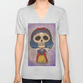 Blanca Nieves Day of the Dead Unisex V-Neck