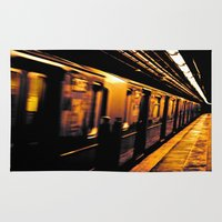 subway Area & Throw Rugs featuring NYC Subway by Thomas Eppolito