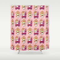 kitty Shower Curtains featuring Kitty by ilana exelby