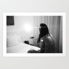 night-time hotel room portrait Art Print