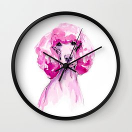 Pink Poodle Poised  Wall Clock