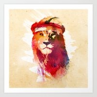 gym Art Prints featuring Gym Lion by Robert Farkas