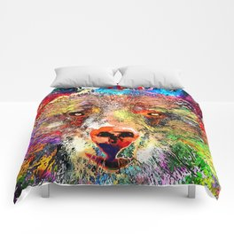 Bear Watercolor Grunge Comforters