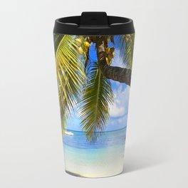 Palmtree on White Exotic Beach Travel Mug