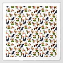 Christmas goats in sweaters repeating seamless pattern Art Print